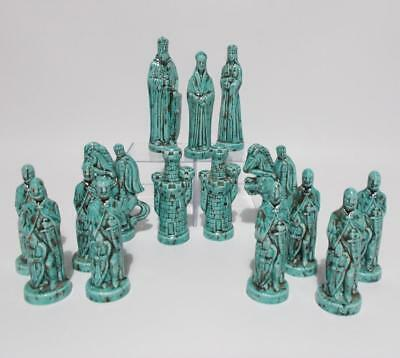 15 Alberta Mold Chess Pieces Green Spotted Glaze Replacements Vintage 70's