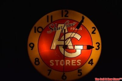 Vintage 1950s Shurfine Foods AG Grocery Store Pam Advertising Lighted Clock