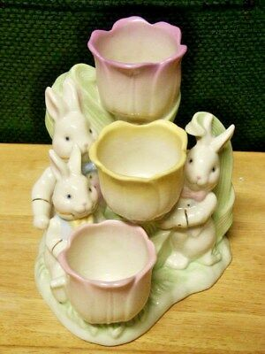 Lenox Occasions Easter Tulip With 3 Bunnies T-Lite Holder     Nwt Nwob