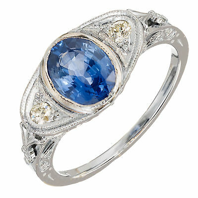 Vintage Hand Pierced Engraved Filigree 14k 1.50ct Sapphire .09ct Diamond Ring