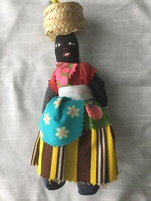 "Vintage 9"" Jamaican Black Cloth Rag Doll with straw hat"