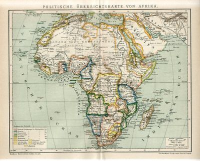 1899 AFRICA MADAGASCAR POLITICAL MAP Antique Map dated
