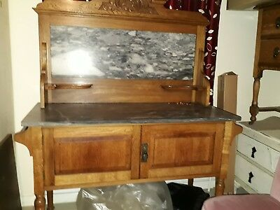 Lovely old oak washstand marble top and back