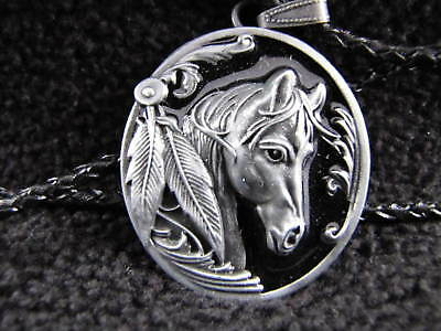 Vintage Black & Grey Horse Head & Feathers 26 Inch Metal Pendant Necklace