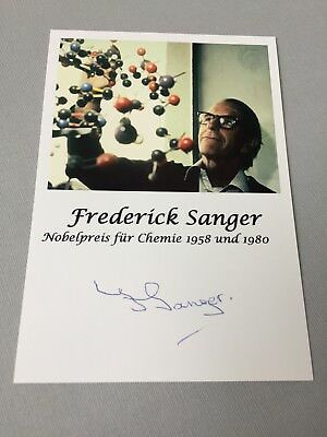 FREDERICK SANGER †2013 Nobel Prize Chemistry 1958 & 1980  signed  photo 4 x 5.6