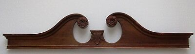 "VINTAGE BROKEN ARCH STYLE MAHOGANY PEDIMENT w/ APPLIED CARVINGS 43 1/4"" wide"
