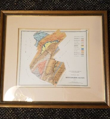 1878 Geological Map Huntingdon County Pennsylvania by Lesley PA Geology Survey