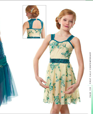 Spinning Ivory & Teal Contemporary Lyrical Dance Dress Costume Curtain Call M,L