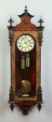 C19th Double Weight Carved Walnut Vienna Wall Clock