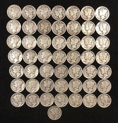 Lot (1 Roll) Of 50 Mercury Silver Dimes Various Dates 1920's - 1940's and Mints