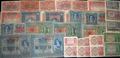 1902 - 1922 Austria Collection Lot 28 Vintage Old Banknotes Paper Money Currency