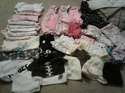 Huge Mix Lot 32 pieces girls newborn 0 3 month baby clothing footed pajamas pjs