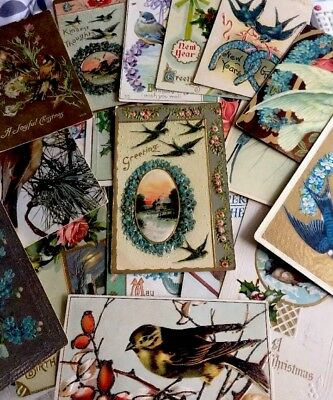 Antique Assorted Holiday Postcards Beautiful Set, Posted, 21 Lot + Bonuses