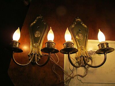 2 1930's FRENCH SOLID BRASS CASTINGS12-1/2X5 W/ CAMEOS ANTIQUE SCONCES REWIRED