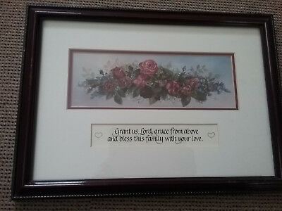 """Carentree picture framed, with saying """" Grant us,Lord, grace from above"""" matted"""