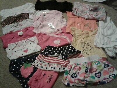 LOT 18 pieces girls 9 month baby clothing pants shirt outfits footed pj