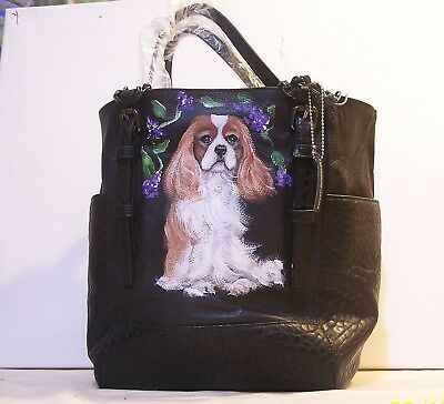Cavalier King Charles Spaniel  hand painted genuine leather large shopping tote