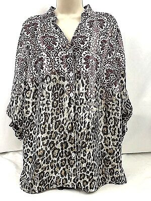 929845c4ffe NWOT Alfred Dunner Women's Sz 18W Sheer Top Blouse Multi color 3/4 Sleeve (