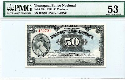 Nicaragua 50 Centavos 1938  Pick# 89a About Uncirculated PMG Graded