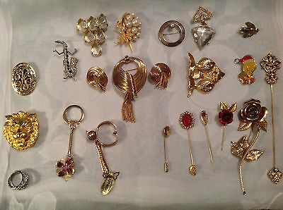 Lot Of Vintage Assorted Lapel Pins, Stick Pins And misc Jewelry