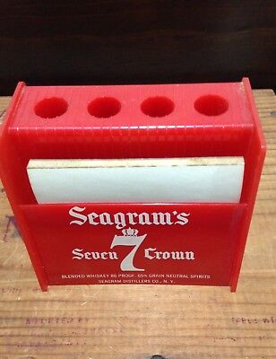 Vintage Seagram's 7 Crown Pencil & Paper  Holder red plastic claremould plastic