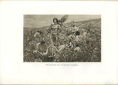 Antique Art Nouveau Victorian Artistic Nude Woman Knight Garden Flowers Print