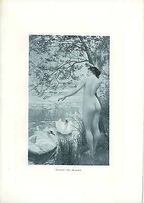 Antique Victorian Art Nouveau Artistic Nude Woman Swans Lily Pads Morning Print