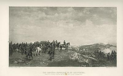 Antique French Emperor Napoleon Iii At Solferino Hillock Horses Smoke Army Print