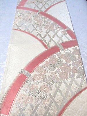 """Flowers Pink Bamboo Embroider Silver Gild Japanese Obi Silk Fabric 25""""L #137"""