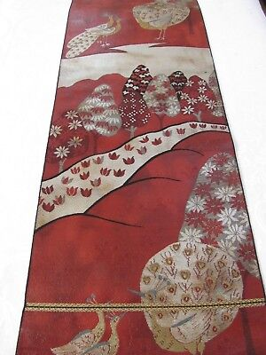 """Birds, Mountains and Forest Deep Rich Color Japanese Obi Silk Fabric 36""""L #132"""