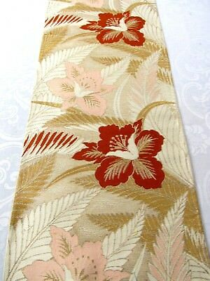 """Flowers Pink Red Gold Leaves High Shine Japanese Obi Silk Fabric 27""""L #145"""