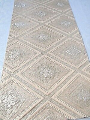 """Mon Intricate Embroidery Pink with Silver Gild Japan SIlk Obi Fabric 25""""L #136"""