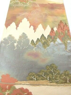 """Stunning Forest Blue Green Red Graduation Color Japanese Obi Fabric 32""""L #140"""