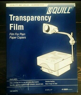 QUILL 7-20329: TRANSPARENCY FILM For Laser Printer/Copier Letter Size 100 Sheets
