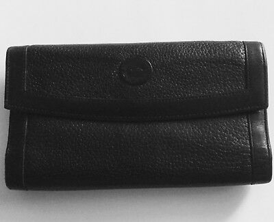 Vintage Dooney Bourke AWL Black Leather Checkbook Wallet/Kisslock Coin Purse