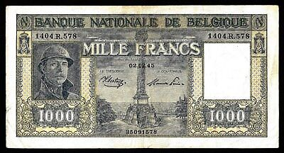 1000 Francs  from Belgium  1945  MM3