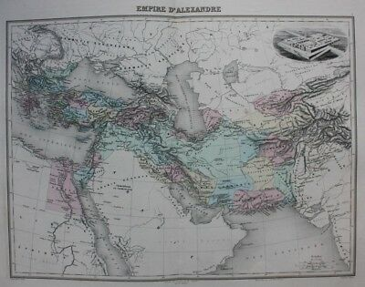 Original antique map EMPIRE OF ALEXANDER THE GREAT, NINEVEH, ASIA, Migeon, 1891