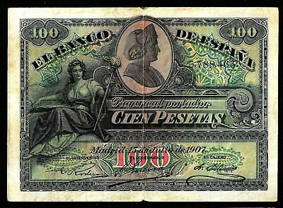 100 Pesetas From Spain 1907  MM3
