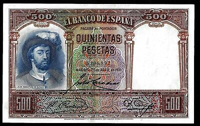 500 Pesetas From Spain 1931  Aunc MM3