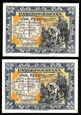 5 Pcs of 1 Peseta From Spain 1940 Consecutive numbers Unc  MM3