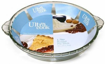 Ultracook 25cm Round Deep Glass Pie Dish Oven Safe, Microwave, Freezer Safe