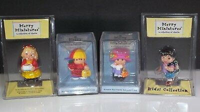Lot of 4 Vintage Hallmark Merry Miniatures Kids Collection Happy Hatters in Box