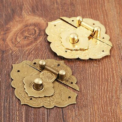 Classic Antique Chinese Buckle Pure Copper Hardware Wooden Box Lock Latch Bronze