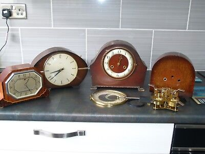 Collection of old mantel clocks spares or repairs
