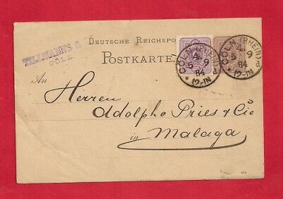 Germany Reich 1884 Uprated stationery postcard cover to Spain.