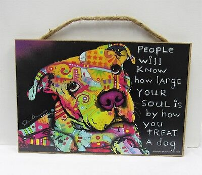 """Pitbull Dog Sign 7""""x10.5"""" Dean Russo Wooden Plaque Artwork # 78201 New"""