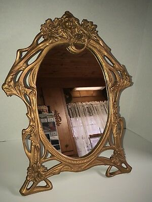 """1900s Antique Art Nouveau Cast Iron Frame Mirror Lady in """"Mucha-style"""""""