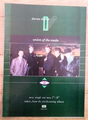 DURAN DURAN Union Of The Snake magazine ADVERT/Poster/Clipping 11x8 inches