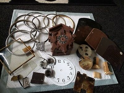 mantle clock parts cuckoo bezels back doors etc
