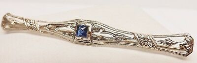 ANTIQUE VICTORIAN 14kt WHITE GOLD SAPPHIRE FILIGREE BAR PIN BROOCH 2.6 gm